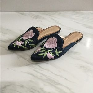 Chase + Chloe Navy & Pink Floral Mules